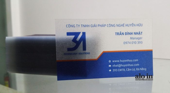 Name card giấy nhựa trong suốt cán lamninate