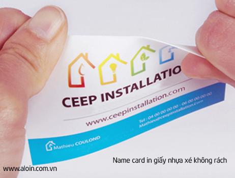 in name card giấy nhựa xé không rách