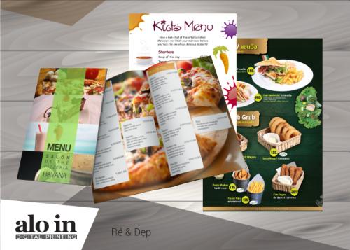 in menu nhà hàng trên giấy nhựa
