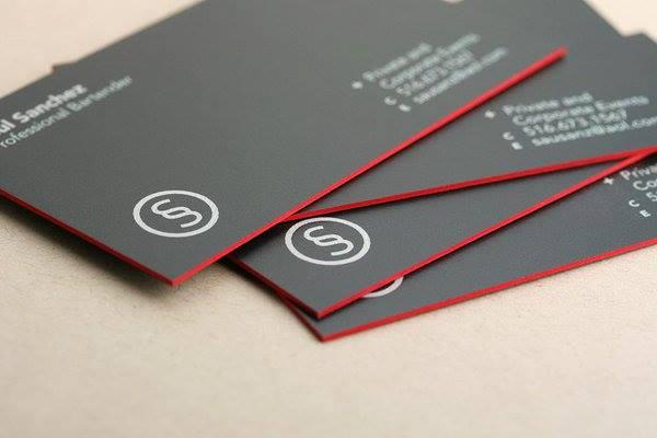 in nhanh name card phủ viền màu đỏ 4 cạnh