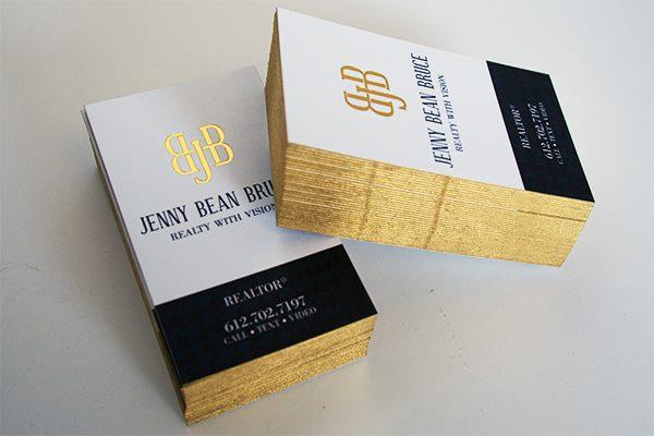 in nhanh name card phủ viền màu nhũ vàng 4 cạnh