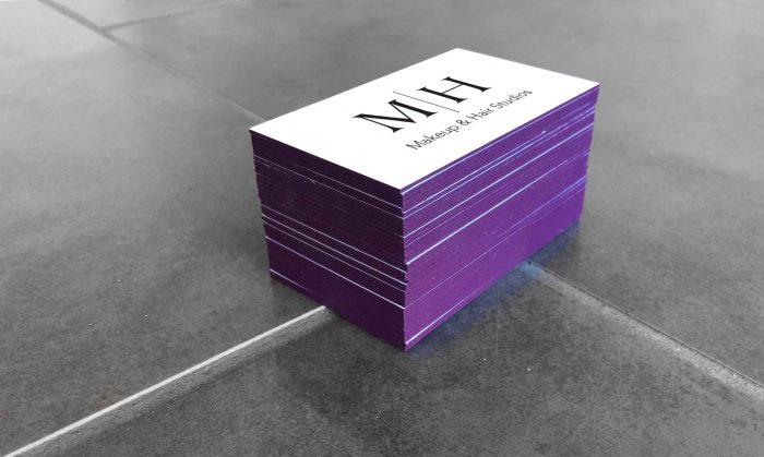 in nhanh name card phủ viền màu tím 4 cạnh